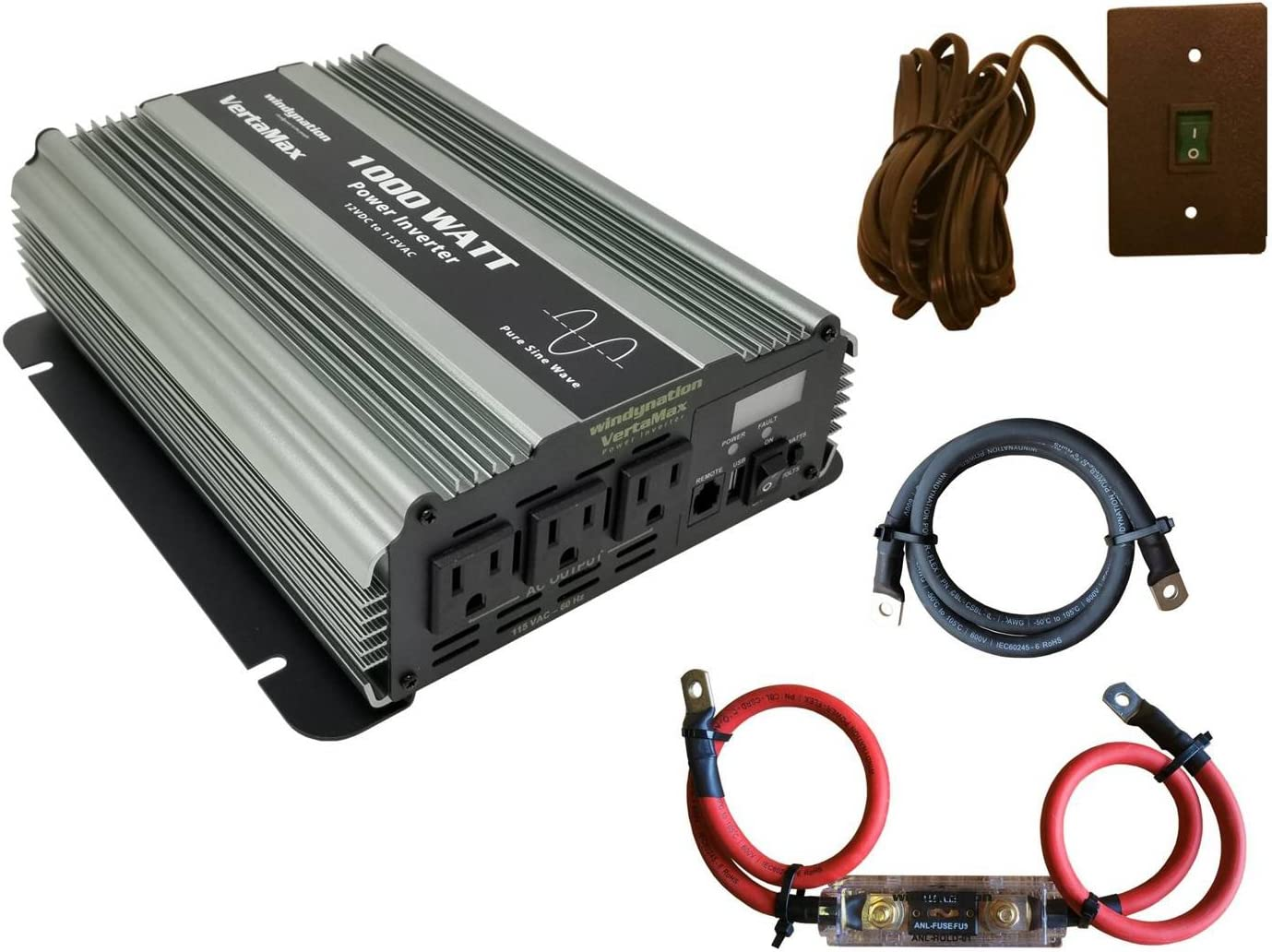 VertaMax Pure SINE Wave 1000 Watt 2000W Surge 12V 12 Volt Power Inverter DC to AC Power Cables Remote Control Switch ANL Fuse USB Port – Solar, RV, Car, Boat