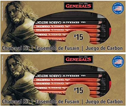 General Pencil Charcoal Kit 12-Piece 2 Pack