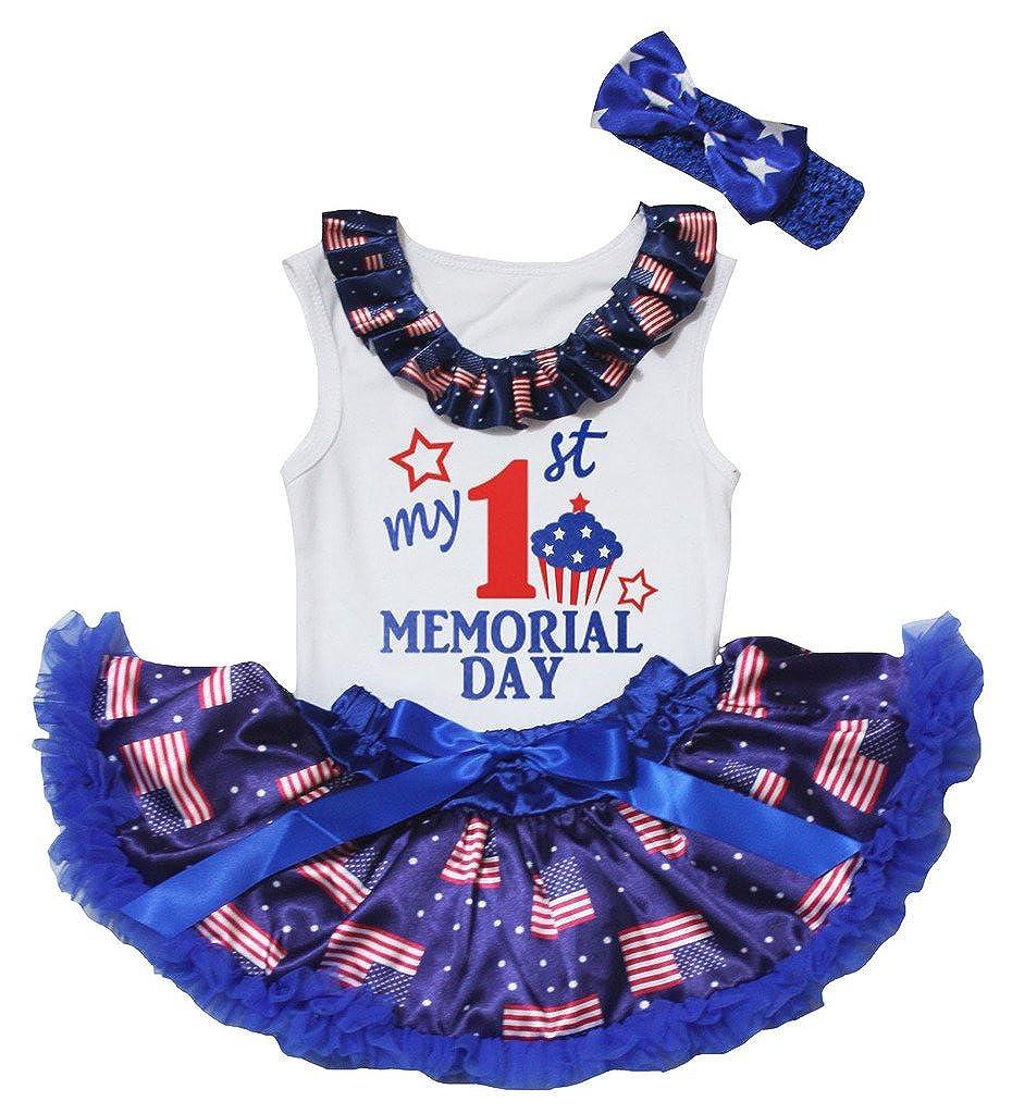 Petitebella My 1st Memorial Day White Shirt USA Flag Blue Baby Skirt Set 3-12m