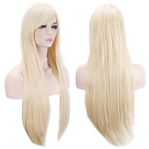 "AKStore Wigs 32"" 80cm Long Straight Anime Fashion Women's Cosplay Wig Party Wig With Free Wig Cap(Blonde)"