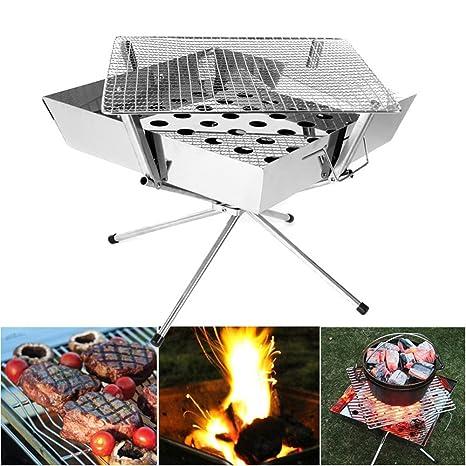 Playdo plegable estufa de leña estufa Patio jardín Camping estufa de acero inoxidable con malla para
