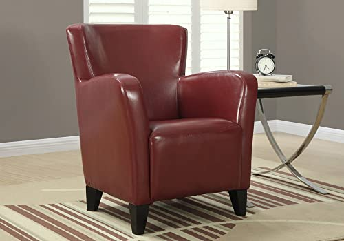 Monarch Specialties Leather-Look Club Chair, Red