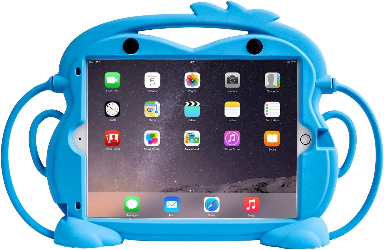 CHIN FAI Kids Case for iPad 7th Generation 10.2 2019 - Fits iPad Air 3 / iPad Pro 10.5, Shockproof Silicone Handle Stand Case with Built-in Apple Pencil Holder for Car (Blue)