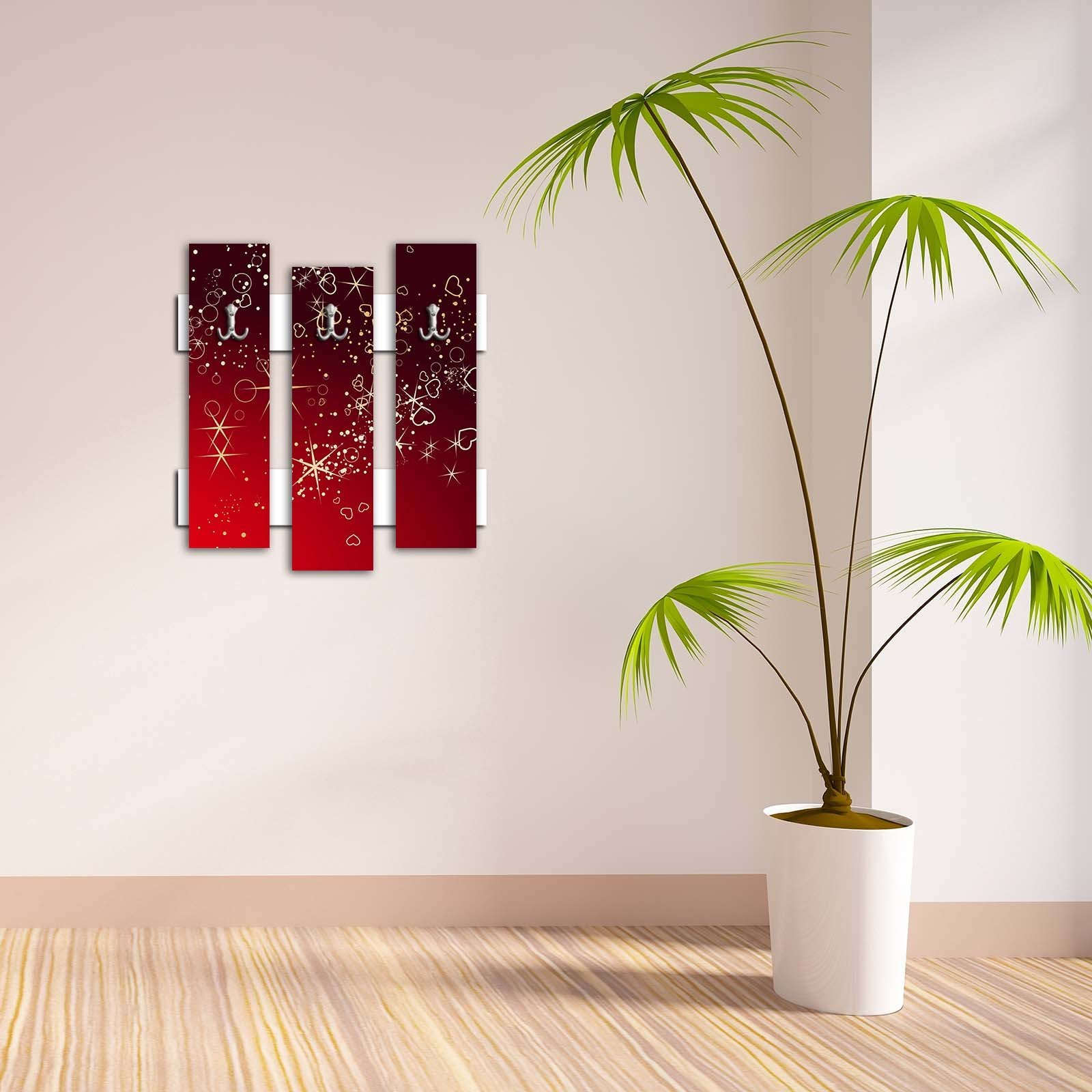 Decorative Wall Hook 3 Pcs Metal Key Holder 100% MDF Mounted Hanging Home Decor, Perfect for Foyers Entryway, Door Coats Hats Towels Scarfs Bags Star Heart Claret Red Merry Chrismas Happy New Year