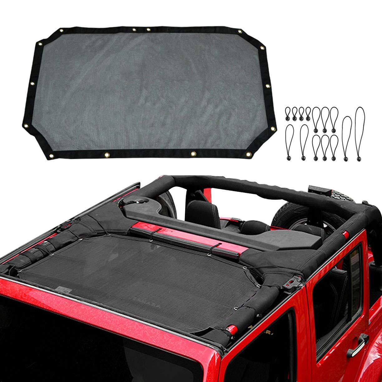 VXAR Mesh Shade Half Top Cover Provides UV Sun Protection Durable Polyester for Jeep Wrangler 4-Door 2007-2018 Black3