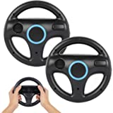Steering Wheel for Wii Controller, PowerLead 2 pcs Racing Wheel Compatible with Mario Kart, Game Controller Wheel for Nintend