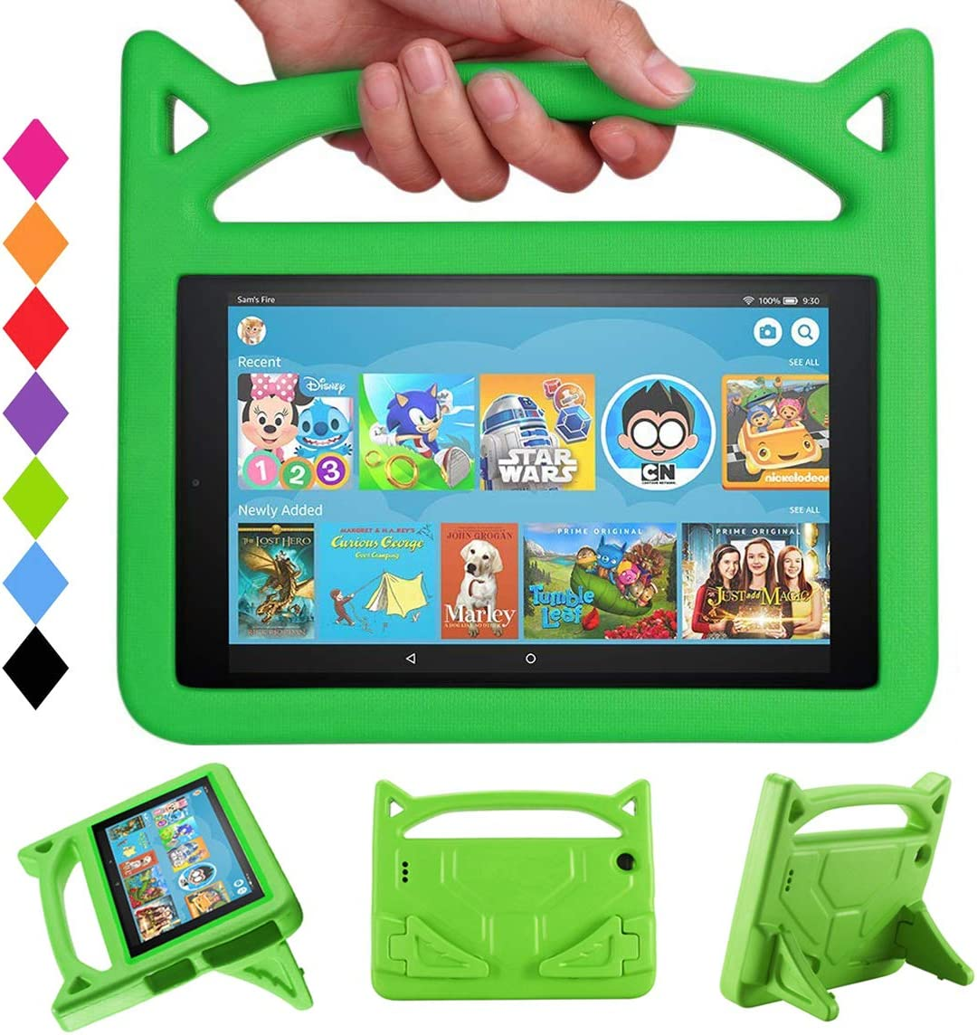 HD 10 Tablet Case for Kids - Mr. Spades Light Weight Shock Proof with Stand Kid Proof Cover Kids Cases for All New HD 10 Tablets (9th/7th/5th Generation - 2019/2017/2015 Release) - Green