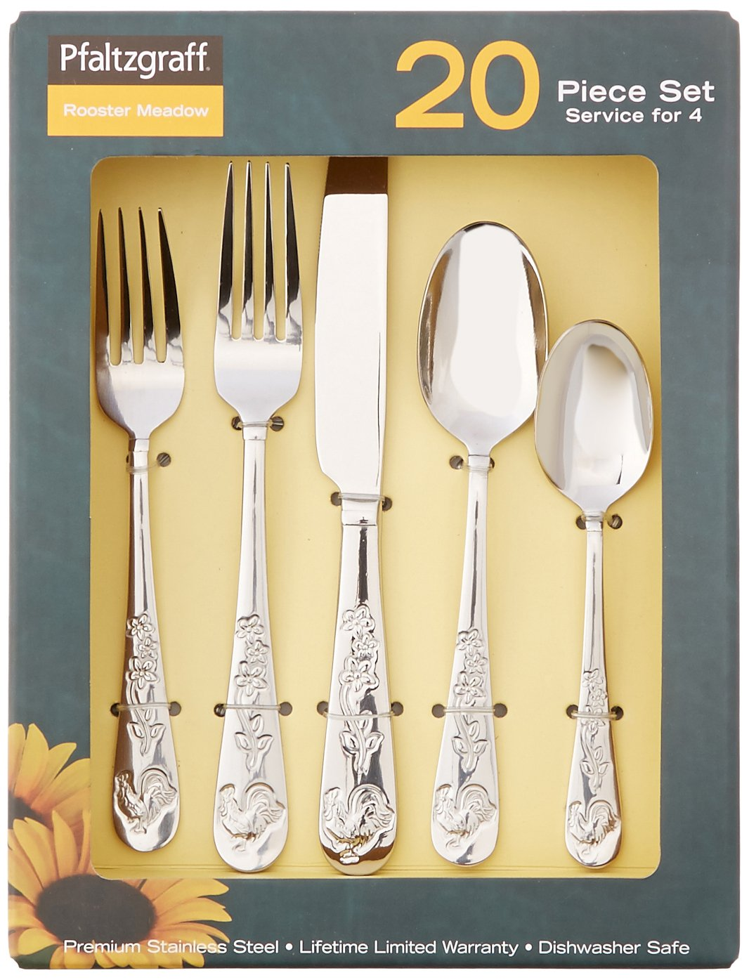 Amazon.com | Pfaltzgraff 5133114 Rooster Meadow 20-Piece Stainless Steel Flatware Set Service for 4 Flatware & Amazon.com | Pfaltzgraff 5133114 Rooster Meadow 20-Piece Stainless ...