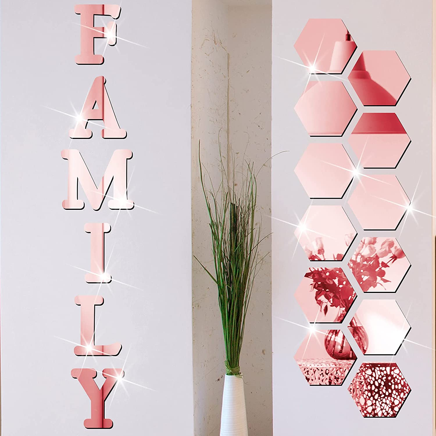 18 Pieces Acrylic Mirror Wall Stickers Family Sign Letters Rustic Farmhouse Wall Decor Removable Acrylic Mirror Setting Wall Sticker Decal for Living Room Bedroom Kitchen Decorations (Rose Gold)