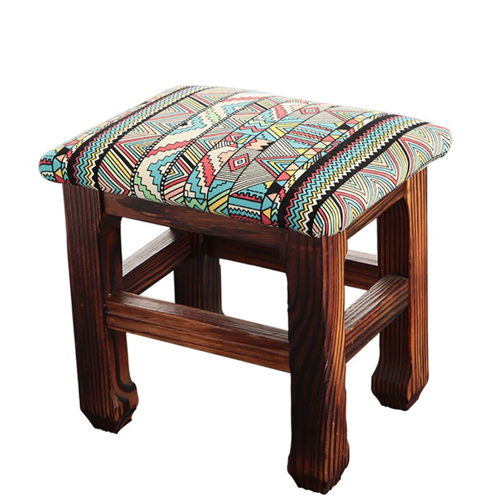 WENJUN Stool Home Living Room Solid Wood Children's Fabric Small Stool Fashion Simple Adult Soft Stool Bench Shoe Bench ( Color : 3 )