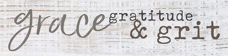 P. Graham Dunn Grace Gratitude & Grit Whitewash 6 x 1.5 Mini Pine Wood Tabletop Sign Plaque