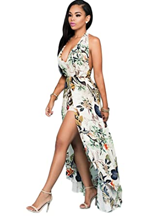 Amazon.com: Women's V Neck Floral Chiffon Maxi Dress Overlay ...