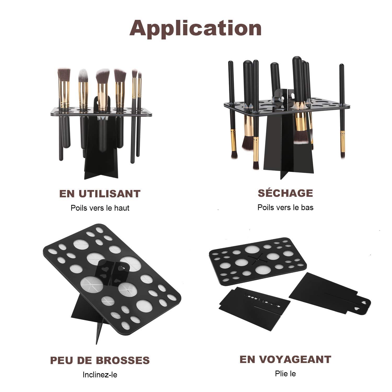 Pinceau de Maquillage étui à support, bedee Cosmétique Organisateur de Voyage Portable 26 poches Maquillage Pinceaux