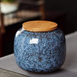 Food Ceramic Storage Jars, Vintage Chinese Style Storage Jars with Bamboon Lid, Traditional Tea Tins Canister for Kitchen Spice, Tea, Coffee, Condiment 650ML (Blue)