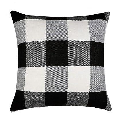 4TH Emotion Black and White Buffalo Checkers Plaids Cotton Linen Throw Pillow Cover Cushion Case Retro