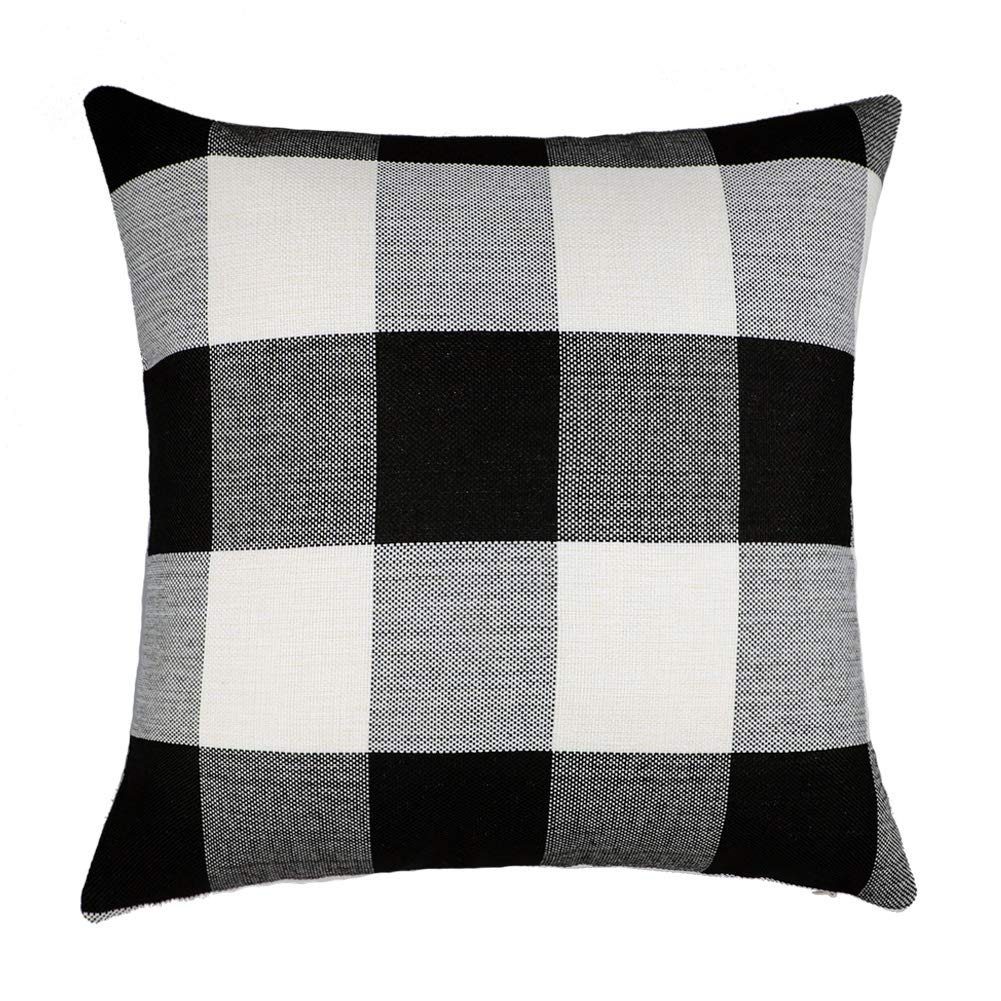 4TH Emotion Black and White Buffalo Checkers Plaids Cotton Linen Throw Pillow Cover Cushion Case Retro Farmhouse Decorative for Sofa 18 x 18 Inch