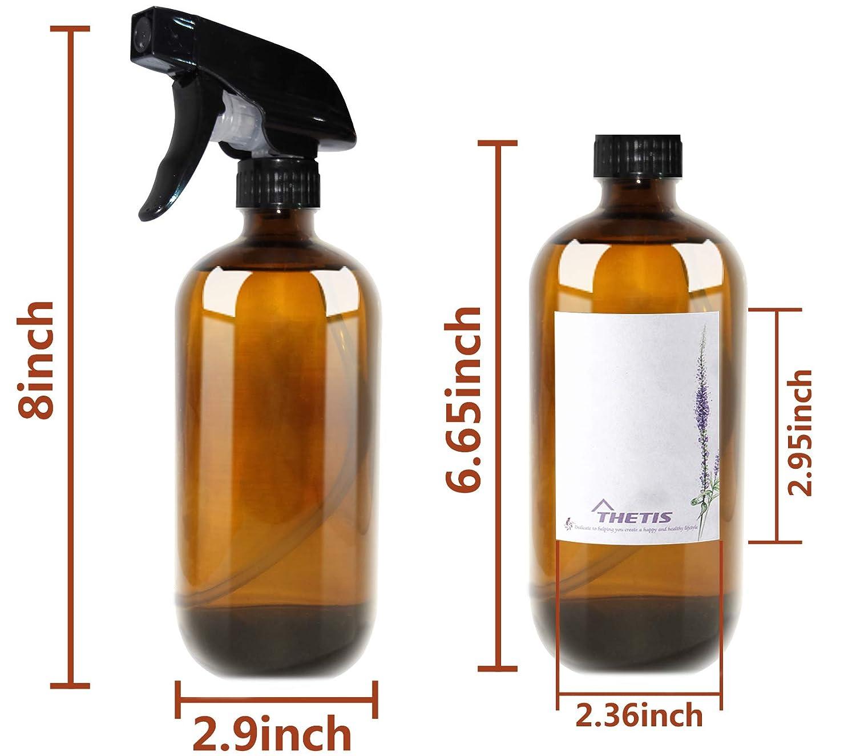 THETIS Homes Botellas de Spray vacías de ámbar Boston de 16 onzas (6 Paquete de) - Contenedor rellenable con pulverizadores de gatillo, Tapas y Etiquetas, ...
