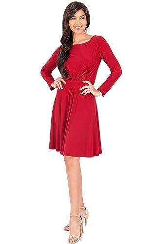 KOH KOH Womens Long Sleeve Semi Formal Flowy Party Work Knee Length Midi Dresses
