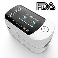HOMIEE Finger Pulsoximeter,Oximeter Digitaler rotierenden OLED Bildschirm Messen Sauerstoffgehalt im Blut SpO2, Finger Herz Sauerstoffsättigung Herzfrequenz Monitor, CE und FDA Zertifizierung.