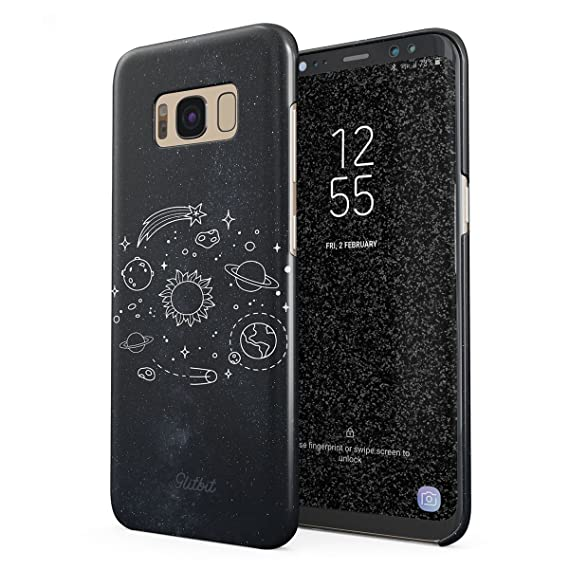 low priced fc89b 809fc Glitbit Compatible with Samsung Galaxy S8 Plus Case Cute Solar System  Galaxy Stars Planet Earth Moon Universe Cosmic Cosmos Space Tumblr Thin  Design ...