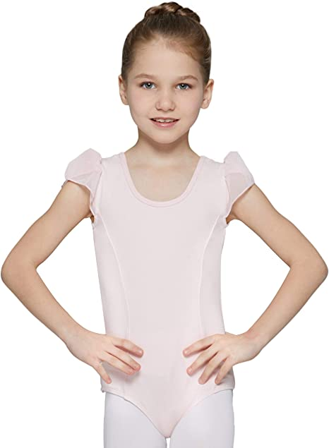 MdnMd Girls Flutter /& Ruffle Sleeve Leotard
