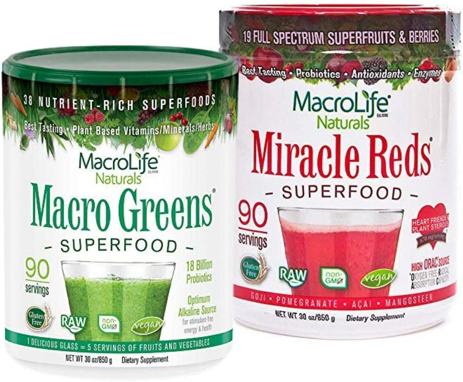 MacroLife Naturals Macro Greens 30oz + Miracle Reds 30oz Superfood Powder Immunity Pack - Non-GMO, Organic, Vegan, Gluten-Free, Dairy-Free - 2 x 30oz (180 Servings)