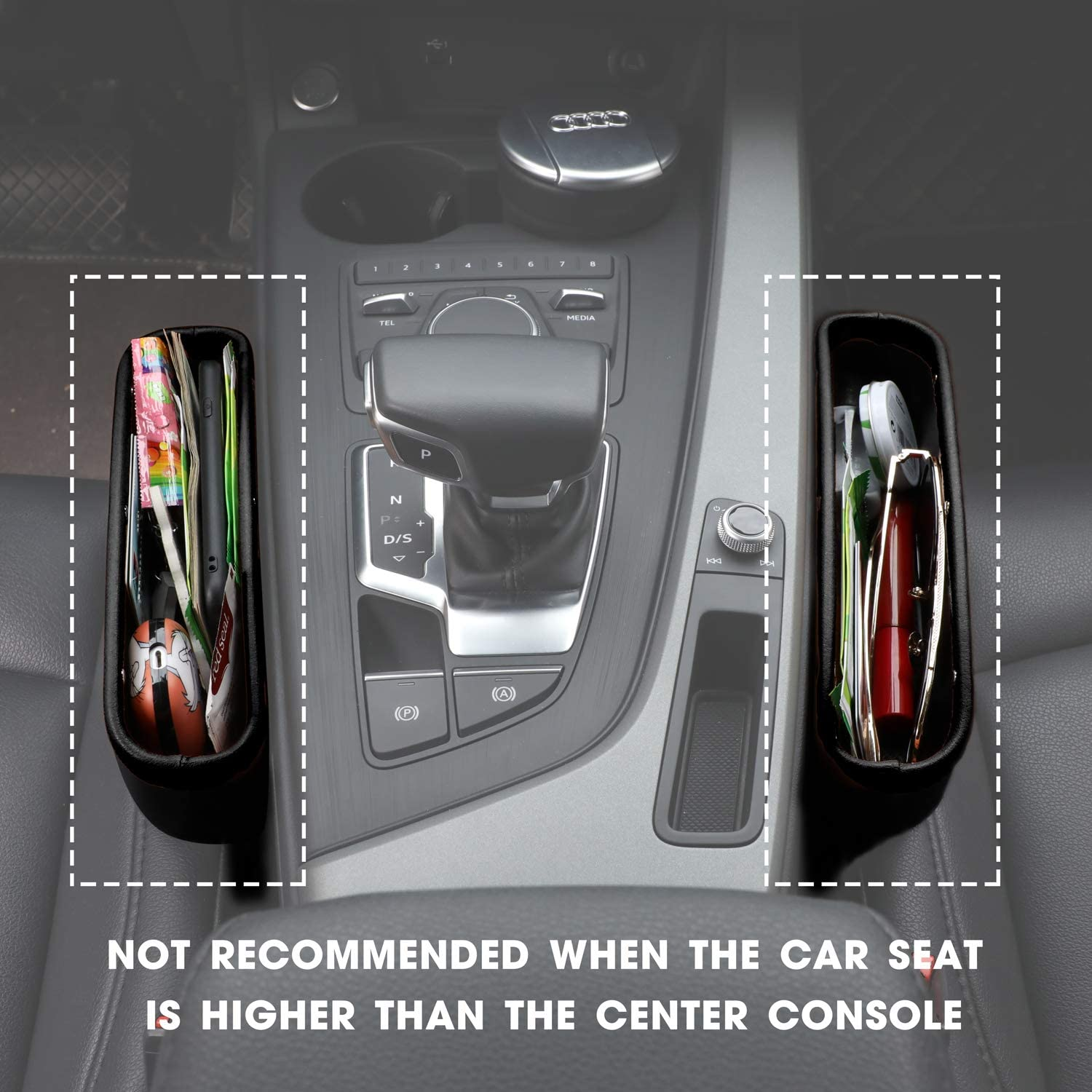 Car Seat Pockets PU Leather Car Console Side Organizer Seat Gap Filler Catch Caddy with Non-Slip Mat 9.2x6.5x2.1 inch Black(2 Pack) Powertiger: Automotive