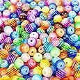 Multicolour l'acrylique rayé des perles Spacer Beads 6 mm environ 200 pièces