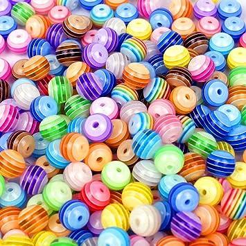 Perlen  ca. 200 Stück Multicolour gestreiften Acryl Perlen Spacer Beads 6 ...