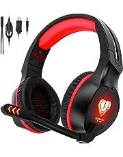 Gaming Headset für PS4 PC Xbox One, QcoQce Over-Ear-Kopfhörer mit Mikrofon, LED-Licht, Bass Surround und 3,5mm Klinkenanschluss für Computer Laptop MAC IPad Smartphone (Rot)