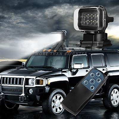 SUPAREE LED Remote Spotlight Search Light 12v 24v 360º Cree LED Rotating Remote Control Work Light Spot