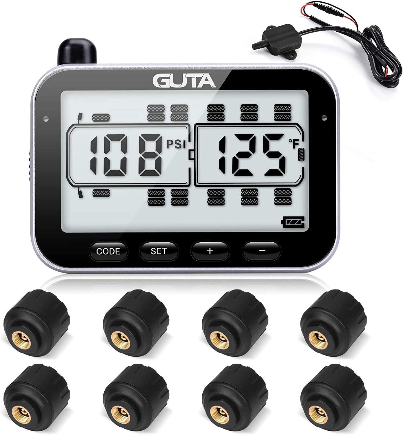 More Convenient Sensor Pairing Method Large Screen 8 Sensors Endurance Battery Life 0-188psi GUTA Tire Pressure Monitoring System 7 Alarm Modes -4~185℉ Long Sensing Distance