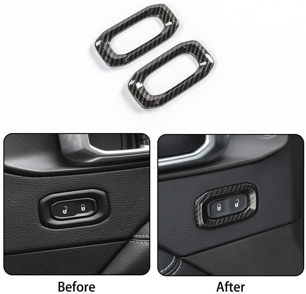 NO7RUBAN Carbon Fiber Style Full Set Interior Decoration Cover Trim for Jeep Wrangler JL 2018 Door Handle bowl,Center Console,Gear Shift,Air Outlet,Headlight Air Conditioner Control Panel Trim