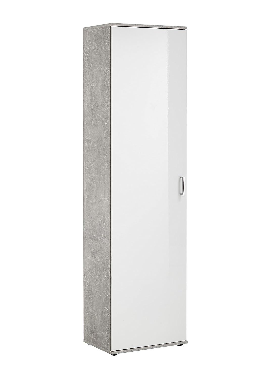 FMD möbel Jade H01 Mobile Multiuso, 50X34,5X184 H cm, Grigio, Bianco, Nobilitato F00652501011