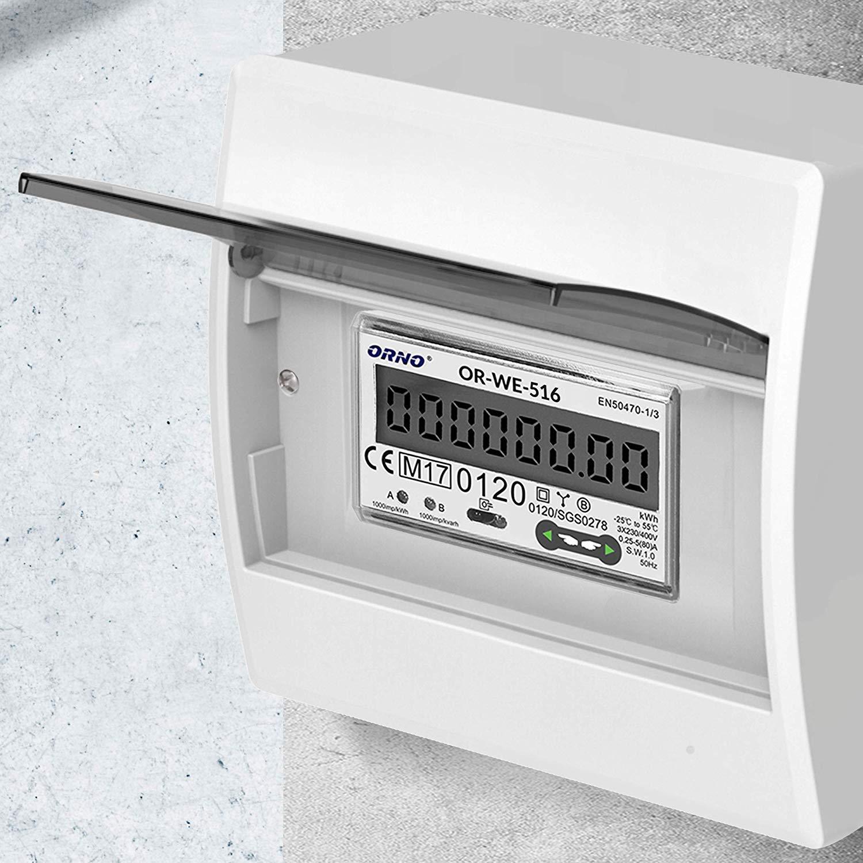 ORNO WE-516 Medidor De Consumo Electrico DIN Carril Para Sistemas Trif/ásicos Con Certificado MID y RS485 80A.3 x 230V//400V 0.25A 50//60Hz 1000 imp//kWh