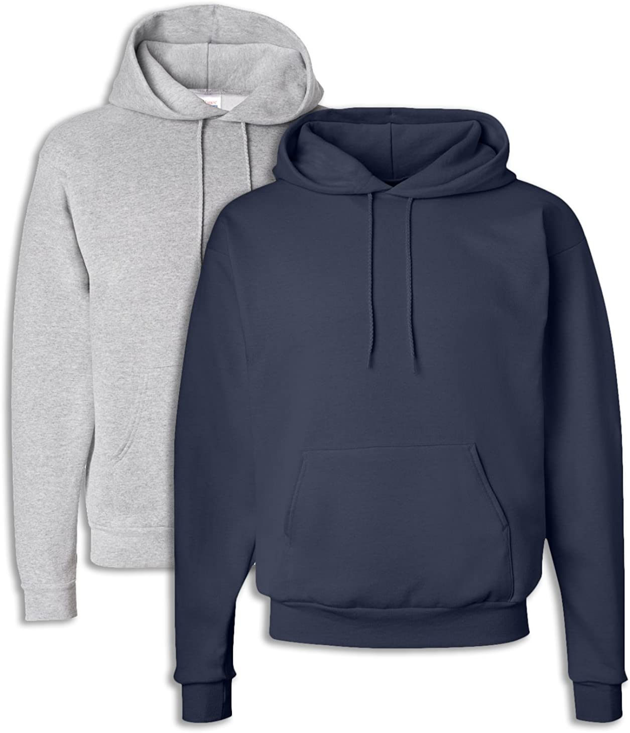 1 Navy Hanes P170 Mens EcoSmart Hooded Sweatshirt 2XL 1 Light Steel