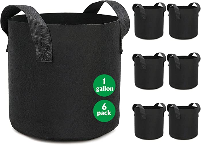 HOOPLE 6Pack 1 Gallon Grow Bags Garden Heavy Duty Non-Woven Aeration Plant Fabric Pot Potato Container Perfect for Potato, Strawberry, Chili, Carrot, Radish, Peanut and Other Vegetables (Black)