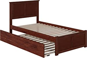 Atlantic Furniture Madison Platform Bed with Flat Panel Footboard and Twin Size Urban Trundle, Walnut