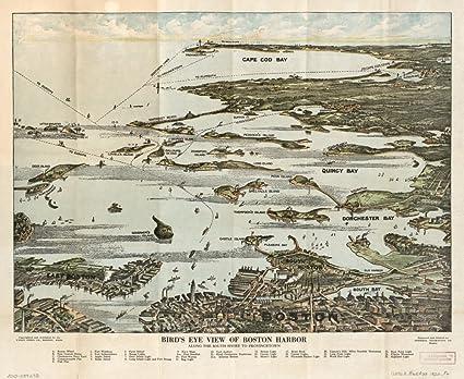 Amazon Com Vintage 1920 Map Of Bird S Eye View Of Boston Harbor