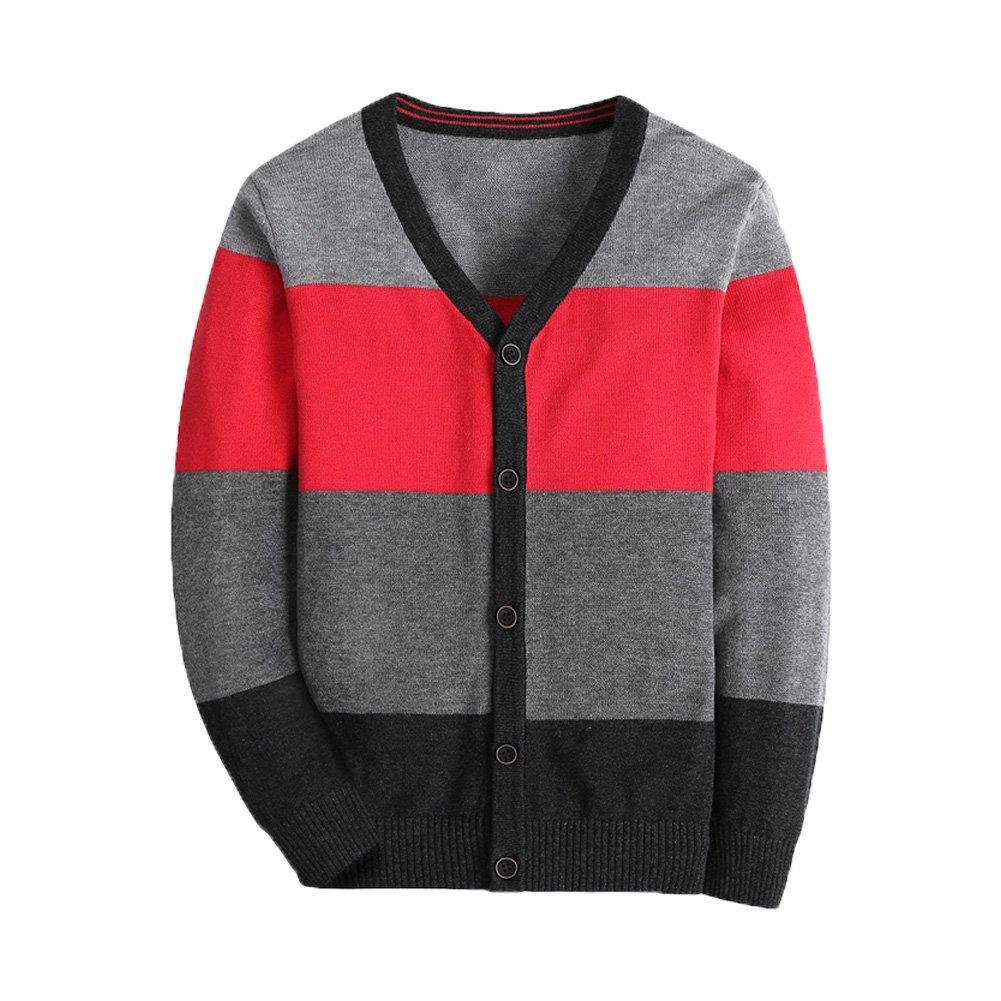 Boys Long Sleeve Sweater Cardigan V Neck Stripe Uniform Knit Kids Clothes
