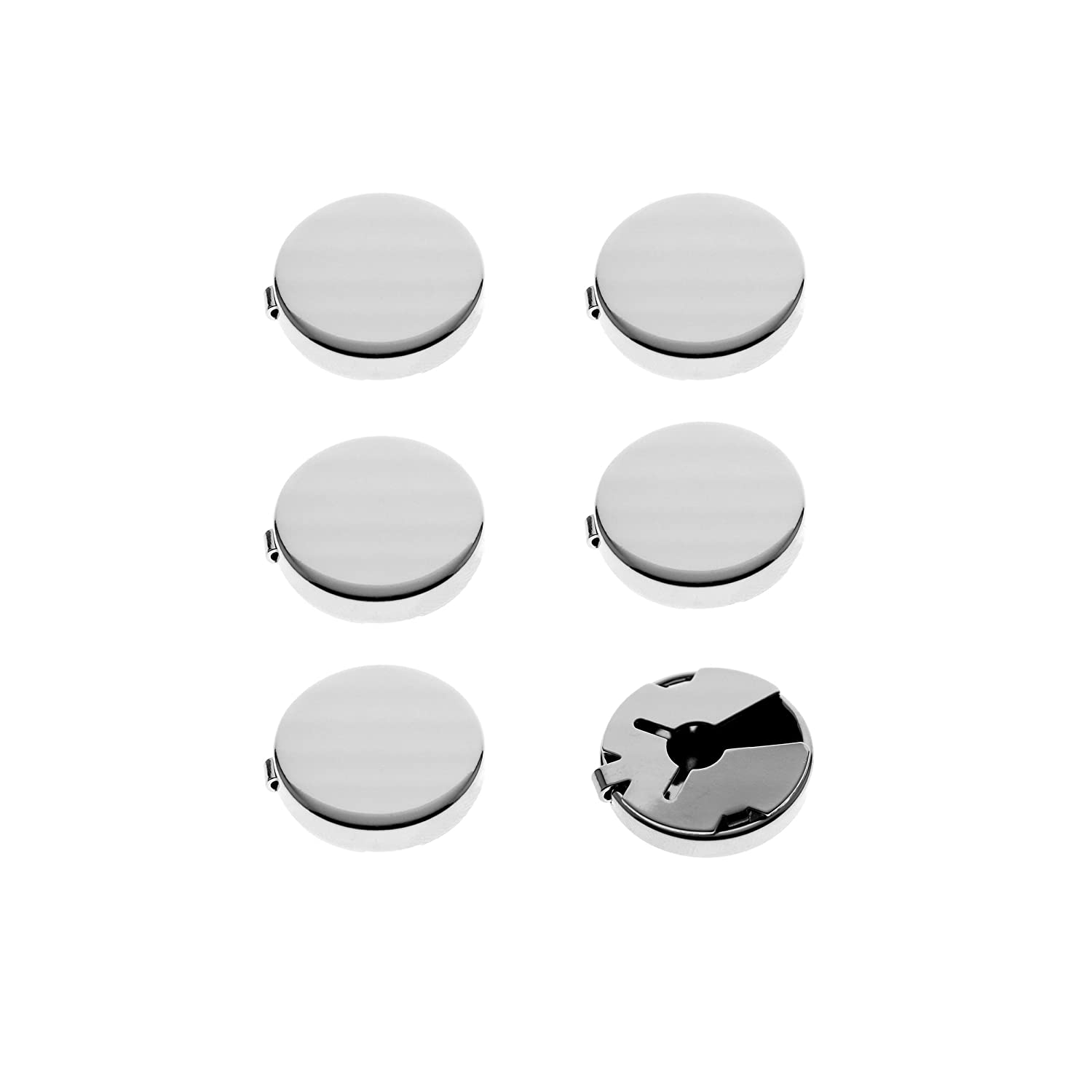Ms.Iconic Silver,Gun Black Round Cuff Button Cover Cuff Links for Wedding Formal Shirt 6Pcs/set Shine Idea