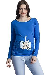 Q.KIM Camiseta Divertido Estampada de Manga Larga Premamá para Mujer ... 05d55f4f7208