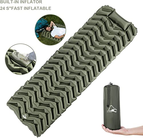 EJsoyo Camping Sleeping Pad, Ultralight 19.4 OZ,New Upgrade Camping Sleeping Pad with Built-in Inflator,Great for Backpacking