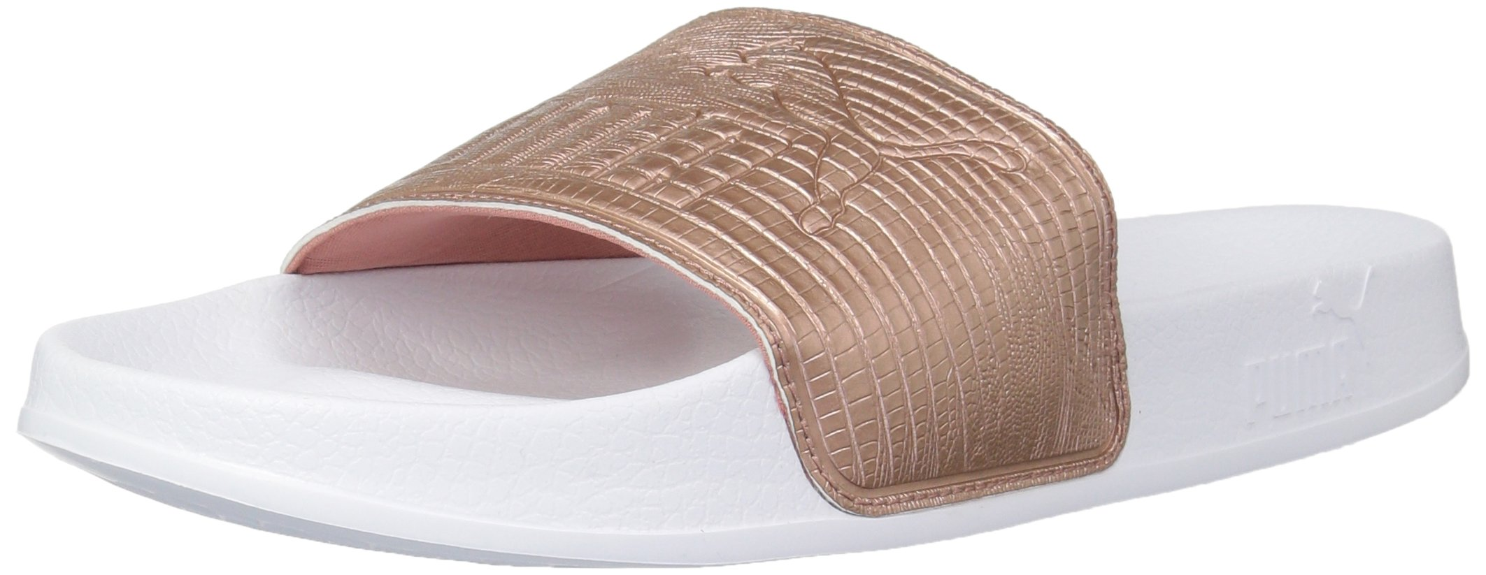PUMA Women's Leadcat Leather Wn Slide Sandal, Copper Rose White, 10.5 M US