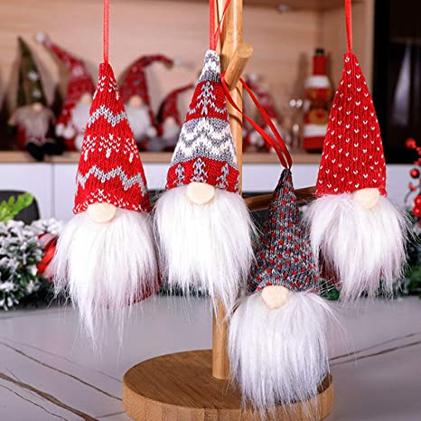 Amazon Com 4 Pack Gnomes Christmas Ornaments Handmade Scandinavian Xmas Ornaments Set Tree Christmas Decorations Clearance Santa Gnome Tomte Plush Doll Hanging Home Holiday Party Decor Gifts Kitchen Dining