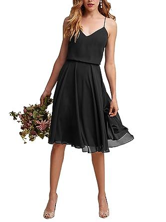 446fae9d82b Nicefashion Women s Vintage V Neck Straps Short Wedding Party Dress Chiffon  Formal Gown Black US2