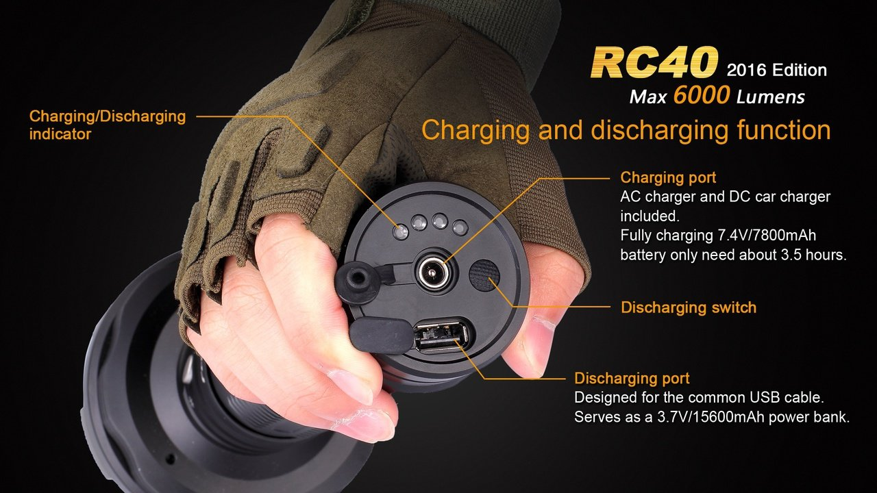 Fenix RC40 2016 Rechargeable LED Flashlight 6000 Lumens with 7800mAh rechargeable battery, Home/Car charger and 30 Lumen AAA Keychain Light by Fenix (Image #6)