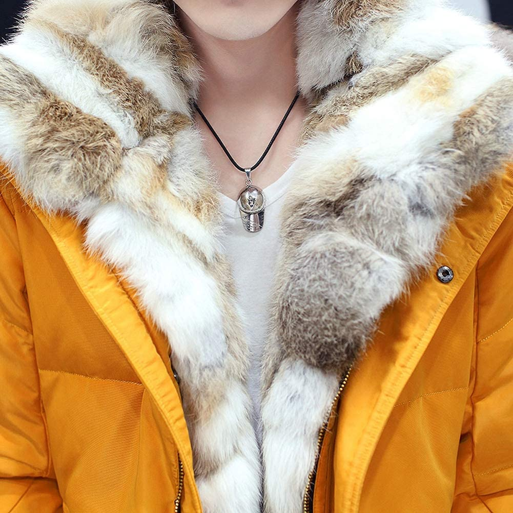 Loqono Winter Unisex Down Jacket Detachable Fur Collar Hooded Warm Jacket