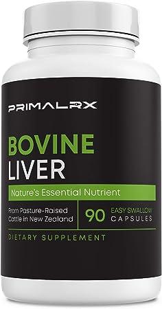 PRIMALRX Bovine Liver: Grass Fed Beef Liver Capsules – Beef Organ Supplement (Vitamin A, B12, Choline, Heme Iron Supplements) – 90 Dessicated Beef Liver Capsules