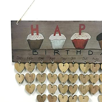 UXELY Family Hanging Calendar Wood Birthday Reminder Event Board